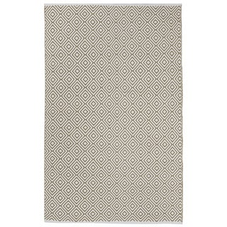 Indo Hand-woven Veria White/ Khaki Contemporary Geometric Area Rug (4' x 6')
