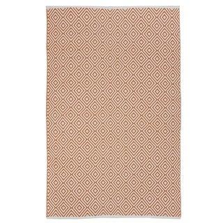 Indo Hand-woven Veria White/ Orange Contemporary Geometric Area Rug (6' x 9')