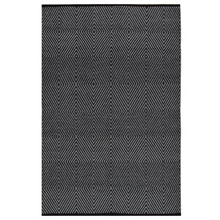 Indo Hand-woven Zen Black/ Bright White Geometric Area Rug (6' x 9')
