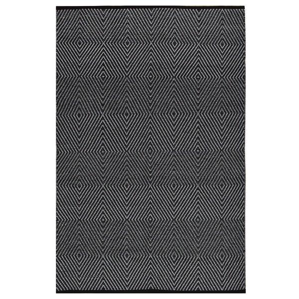 Indo Hand-woven Zen Black/ Bright White Geometric Area Rug (6' x 9')