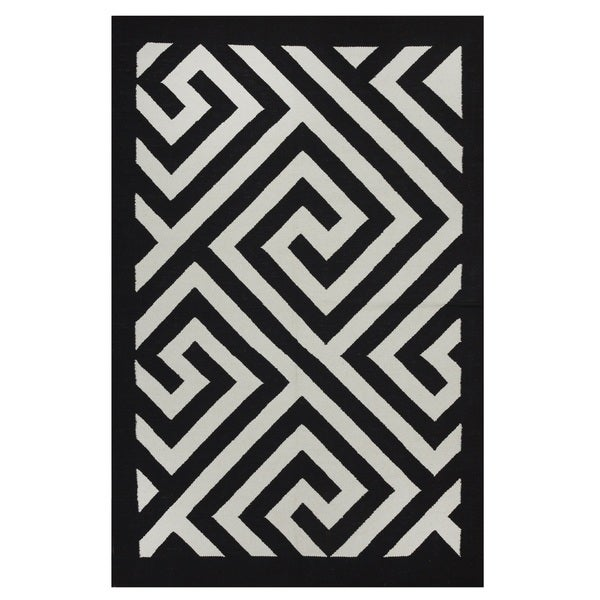 Black And White Geometric Rugs For Sale: Shop Handmade Indo Broadway Black/ White Contemporary