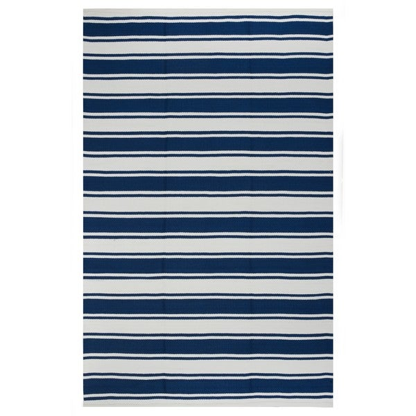 Indo Hand-woven Lucky White/ Turkish Sea Blue Stripe Area Rug (8' x 10')