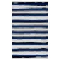 Indo Hand-woven Lucky White/ Turkish Sea Blue Stripe Area Rug (8' x 10')