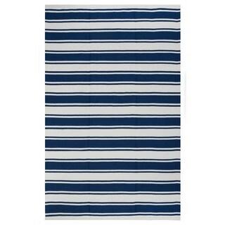 Indo Hand-woven Lucky Turkish Sea Blue/ Bright White Stripe Area Rug (3' x 5')