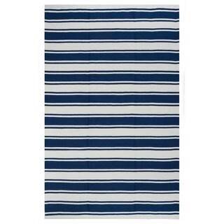 Handmade Indo Lucky Bright White and Turkish Sea Blue Stripe Rug (India) - 4' x 6'