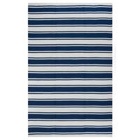 Indo Hand-woven Lucky Bright White/ Turkish Sea Blue Stripe Area Rug - 4' x 6'