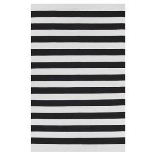 Indo Hand-woven Nantucket Black/ Bright White Contemporary Stripe Area Rug (8' x 10') - 8' x 10'
