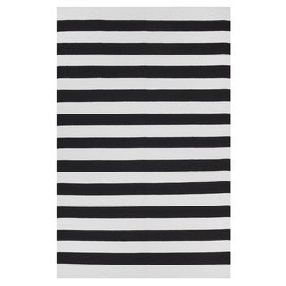 Indo Hand-woven Nantucket Black/ Bright White Contemporary Stripe Area Rug (8' x 10')
