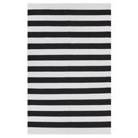 Indo Hand-woven Nantucket Black/ Bright White Contemporary Stripe Area Rug (8' x 10') - 8' x 10'
