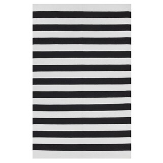 Handmade Indo Nantucket Black/ Bright White Contemporary Stripe Area Rug - 8' x 10' (India)