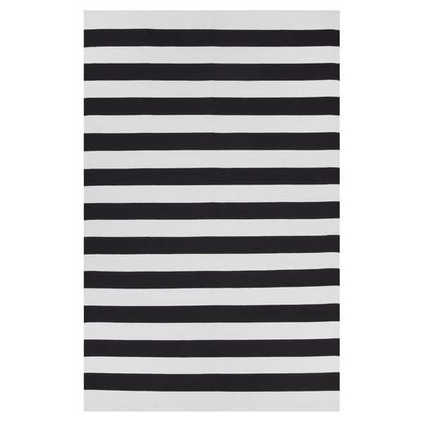 Indo Hand Woven Nantucket Black Bright White Modern Area Rug 4 X 6