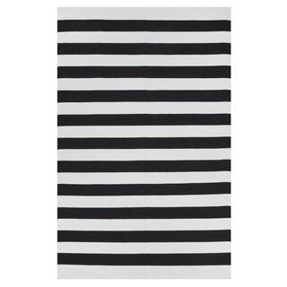 Handmade Indo Nantucket Black/ Bright White Modern Area Rug (India) - 4' x 6'