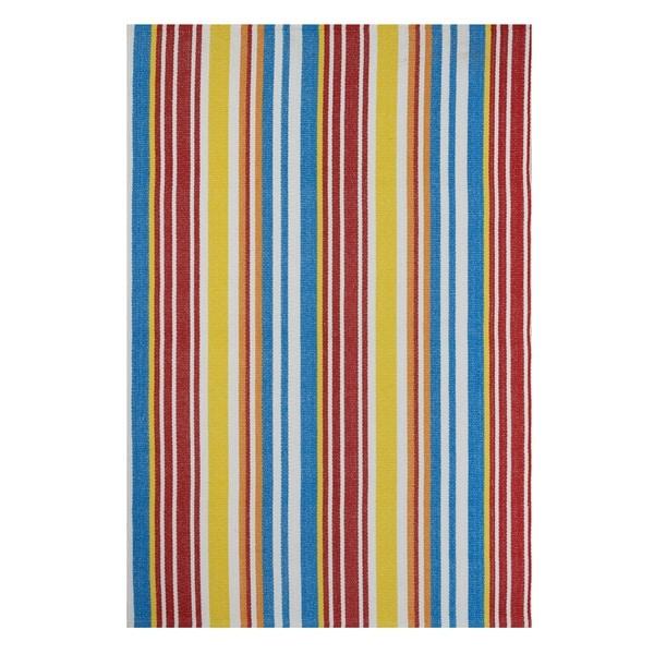 Handmade Indo Rio Multi/ Orange Contemporary Stripe Area Rug - 8' x 10' (India)