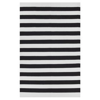 Handmade Indo Nantucket Black and Bright White Flat-weave Stripe Rug (India) - 3' x 5'