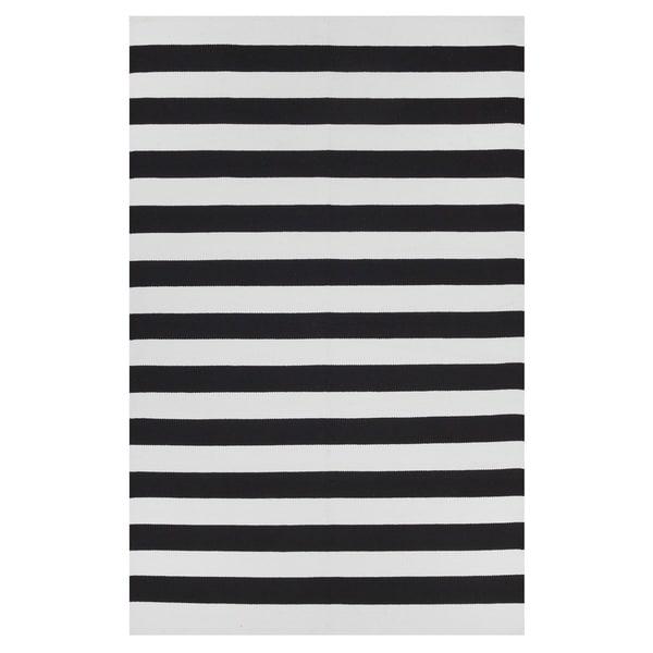 Handmade Indo Nantucket Black/ Bright White Flat-weave Stripe Area Rug (India) - 3' x 5'
