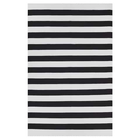 Handmade Nantucket Black and White Stripe Rug - 3' x 5' (India)
