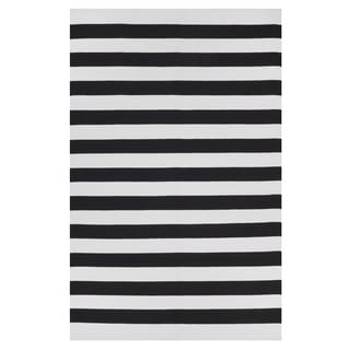 Indo Hand-woven Nantucket Black/ Bright White Flat-weave Stripe Area Rug (3' x 5')
