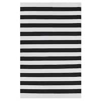 Handmade Indo Nantucket Black/ Bright White Flat-weave Stripe Area Rug (India) - 3' x 5'