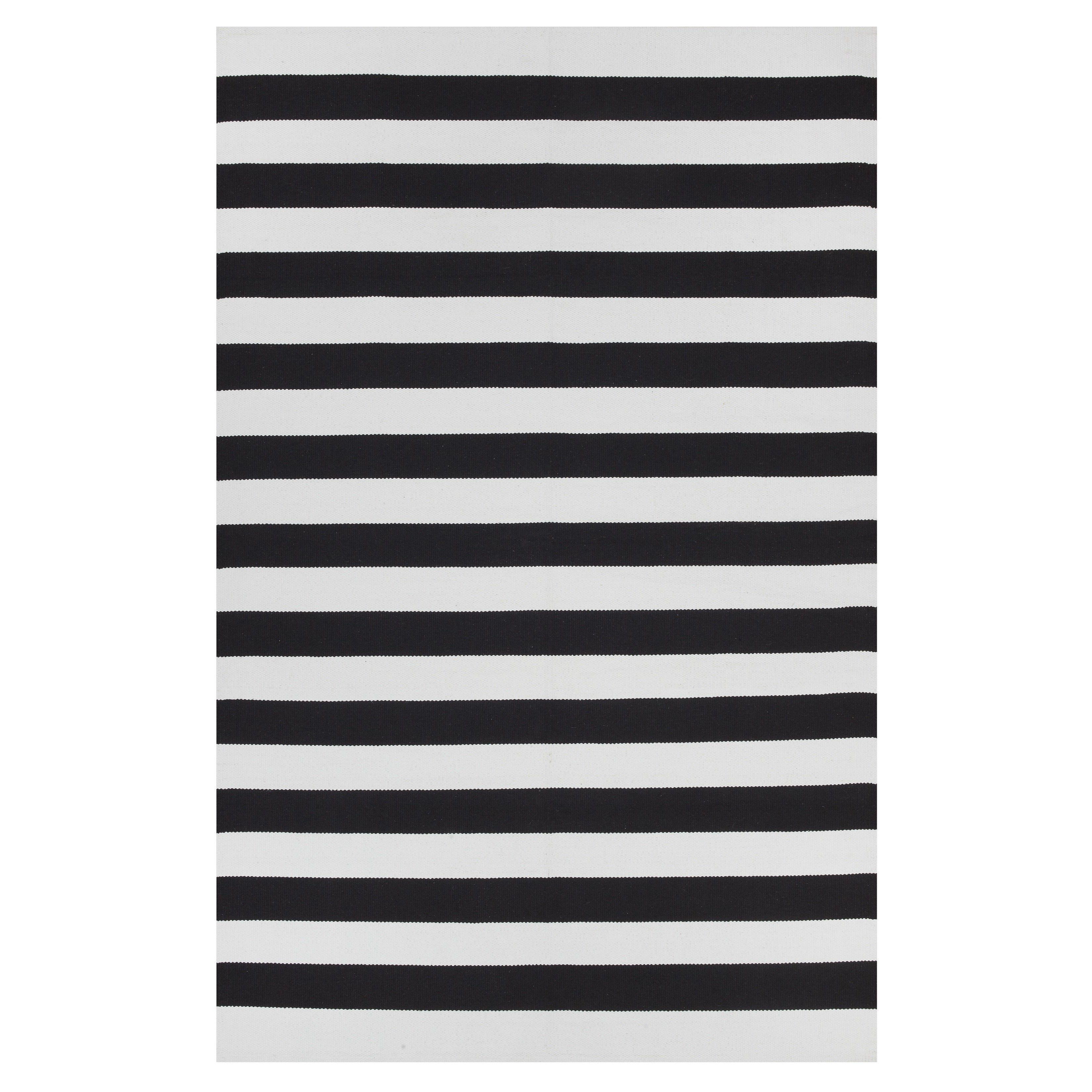 Indo Hand Woven Nantucket Black White Contemporary Stripe Area Rug 5 X 8