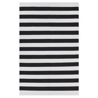 Handmade Indo Nantucket Black and White Contemporary Stripe Rug (India) - 5' x 8'
