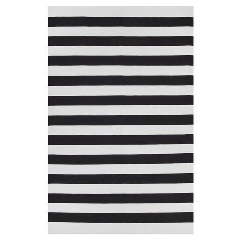 Handmade Indo Nantucket Black/ White Contemporary Stripe Area Rug - 5' x 8' (India)