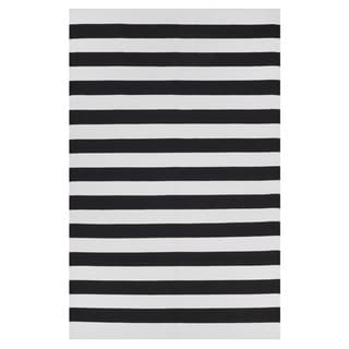 Indo Hand-woven Nantucket Black/ White Contemporary Stripe Area Rug (5' x 8')