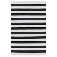 Indo Hand-woven Nantucket Black/ White Contemporary Stripe Area Rug (5' x 8') - 5' x 8'