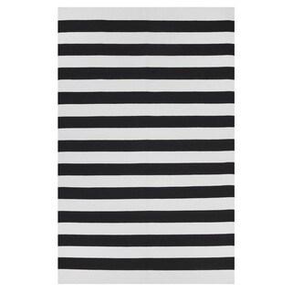 Indo Hand-woven Nantucket Black/ White Contemporary Stripe Area Rug (5' x 8')