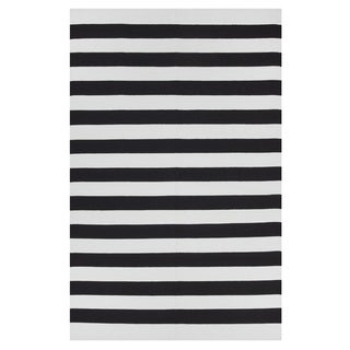 Indo Hand-woven Nantucket Bright White/ Black Contemporary Stripe Area Rug (6' x 9')