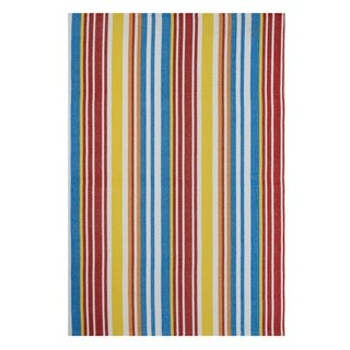 Indo Hand-woven Rio Orange/ Multi Contemporary Stripe Flat-weave Area Rug (4' x 6')