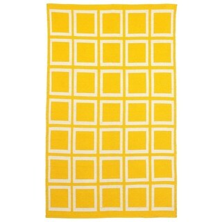 Indo Hand-woven Sunny Mimosa Yellow/ Bright White Flat-weave Area Rug (8' x 10')