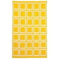 Handmade Indo Sunny Mimosa Yellow/ Bright White Flat-weave Area Rug - 8' x 10' (India)