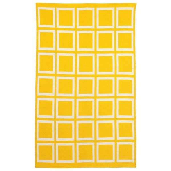 Indo Hand-woven Sunny Mimosa Yellow/ Bright White Flat-weave Area Rug - 8' x 10'