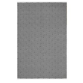 Indo Hand-woven Veria Black/ White Geometric Flat-weave Area Rug (8' x 10')