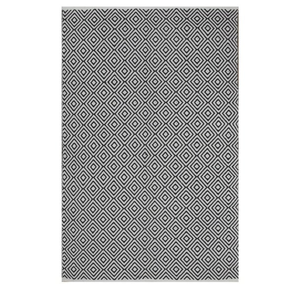 Indo Hand-woven Veria Black/ White Geometric Flat-weave Area Rug - 8' x 10'