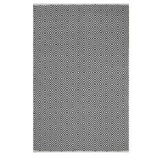 Handmade Indo Veria Black and White Geometric Flat-weave Rug (India) - 3' x 5'