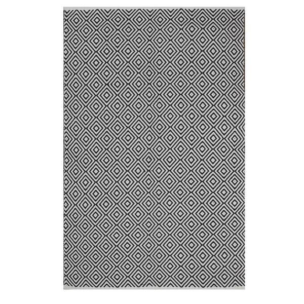 Indo Hand-woven Veria White/ Black Geometric Flat-weave Area Rug - 6' x 9'