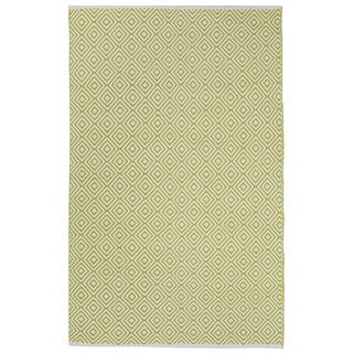 Indo Hand-woven Veria Off-white/ Green Geometric Flat-weave Area Rug (6' x 9')