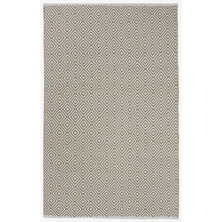 Indo Hand-woven Veria Off-white/ Khaki Contemporary Geometric Area Rug (6' x 9')