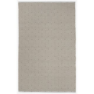 Indo Hand-woven Veria Khaki/ Off-white Contemporary Flat-weave Area Rug (8' x 10')