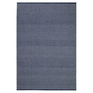 Indo Hand-woven Zen Dark Blue/ Bright White Geometric Flat-weave Area Rug (8' x 10') - 8' x 10'