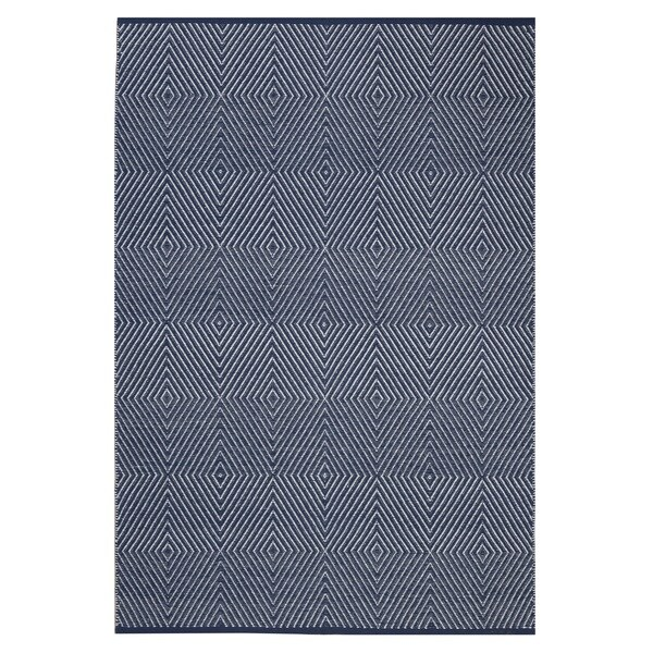Indo Hand-woven Zen Dark Blue/ Bright White Geometric Flat-weave Area Rug (8' x 10')