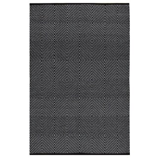 Indo Hand-woven Zen Dark Black/ Bright White Geometric Flat-weave Area Rug (3' x 5')