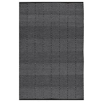 Indo Hand woven Zen Bright White/ Black Area Rug - 4' x 6'