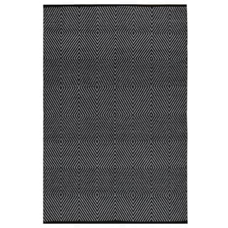 Indo Hand-woven Zen Black/ Bright White Contemporary Geometric Flat-weave Area Rug (5' x 8')