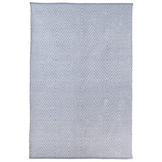 Indo Hand-woven Zen Eventide Blue/ Bright White Contemporary Geometric Area Rug (4' x 6')