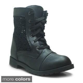 Blue Women's Millie Knit Combat Boots
