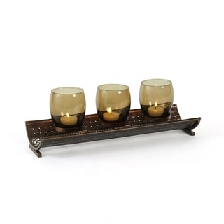 Elements Amber 3-light 15-inch Metal Linear Candle Holder