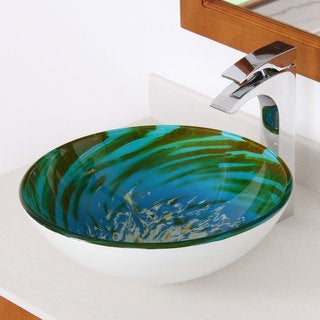 Elite 1405 Blue/ Green Modern Tempered Glass Vessel Sink