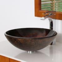 Elite 1402 Modern Bronze Tempered Glass Bathroom Vessel Sink